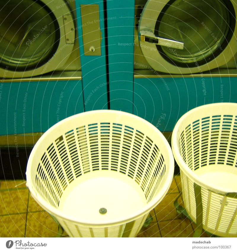 washing day Washer Cyan Machinery Pure White Clothing Detergent Arrangement Clean Laundry basket Open Retro Style Laundromat Boredom Entertainment Beautiful