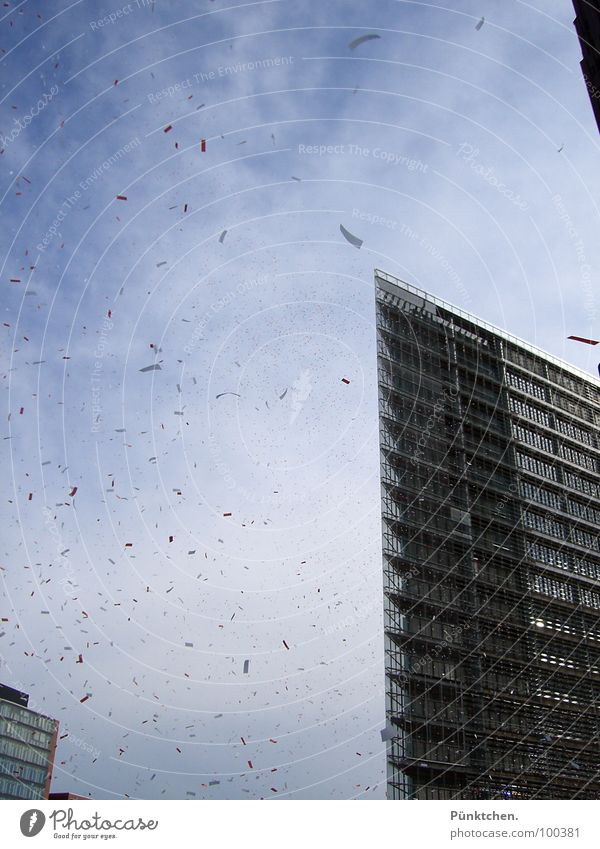 It's raining snippets. House (Residential Structure) High-rise Snippets Confetti Clouds Window Summer Town Air Potsdamer Platz Places Building Construction