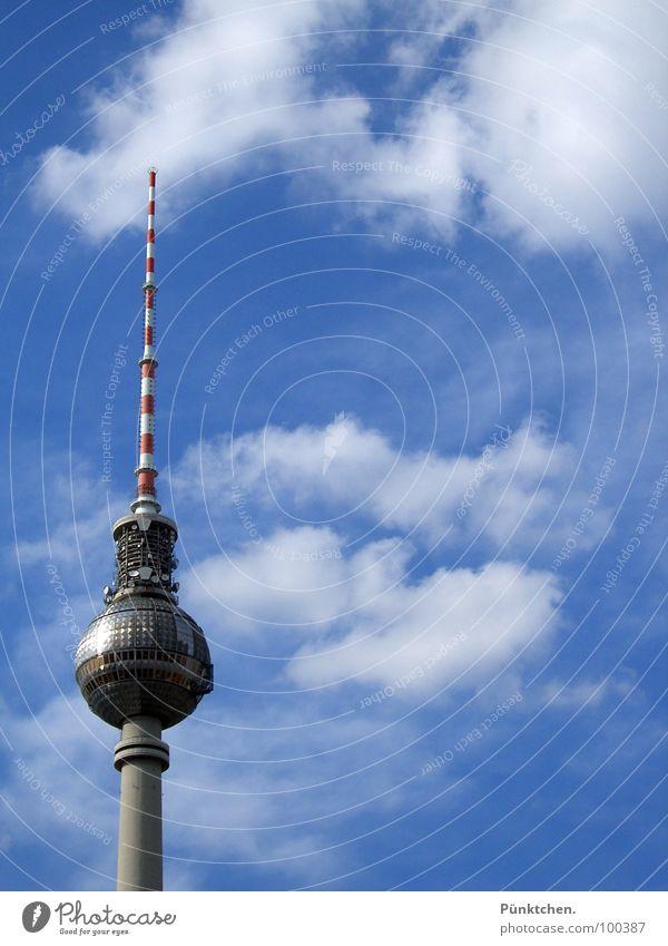The revolving tower Alexanderplatz Clouds Summer Red White Thin Vantage point Concrete Rotate Berlin TV Tower Landmark Monument alex Sky Blue Point Sphere Ball