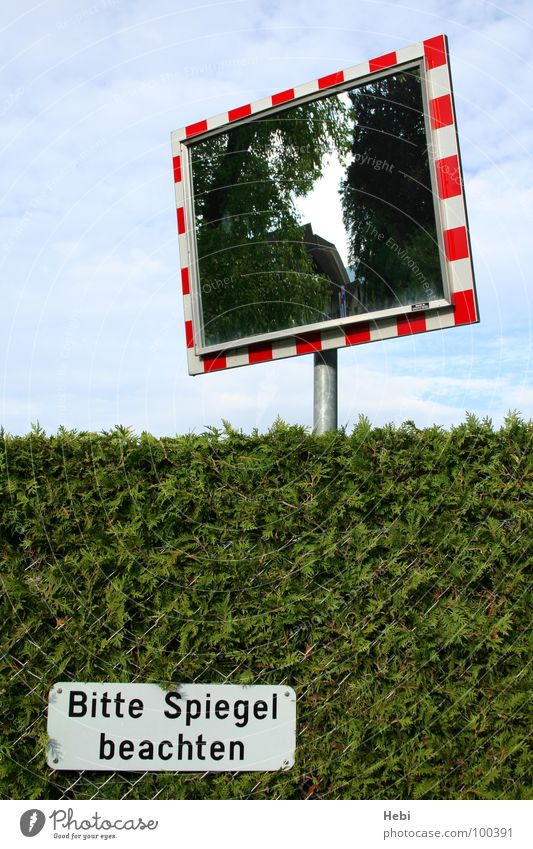 Sky White Green Blue Red Signs and labeling Transport Dangerous Mirror Fence Barrier Respect Warning label Hedge Caution