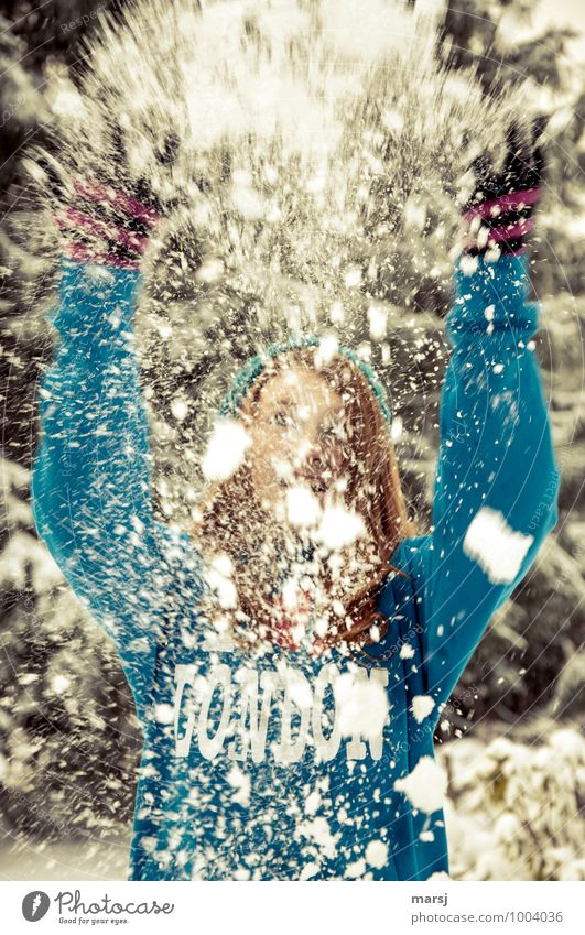 Cold fun. Human being Feminine Young woman Youth (Young adults) 1 13 - 18 years Winter Snow Snowfall Throw Joy Happy Contentment Joie de vivre (Vitality) Brave
