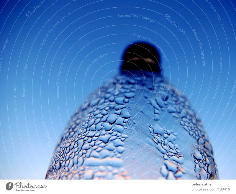 Sky Blue Summer Water Warmth Nutrition Drops of water Physics Statue Refreshment Bottle Light blue Gully