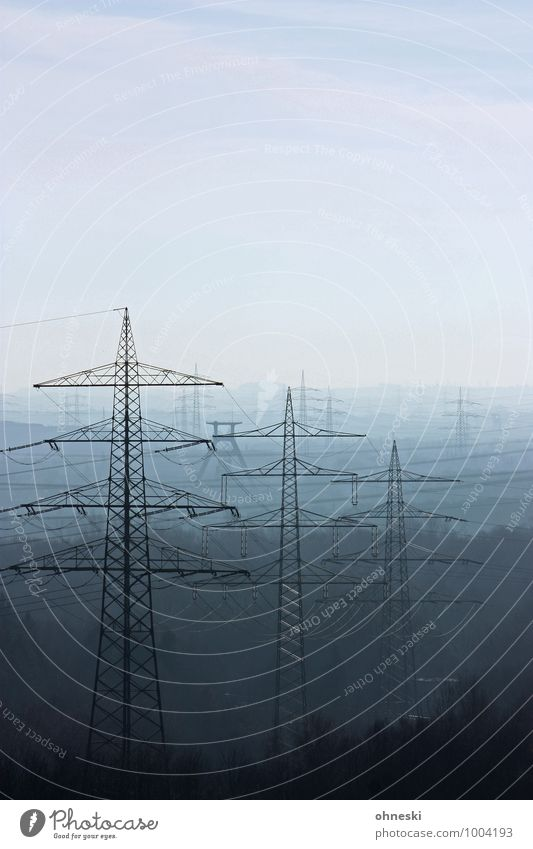 streamlines Energy industry The Ruhr Electricity pylon Blue Far-off places Colour photo Subdued colour Exterior shot Copy Space right Copy Space top Day