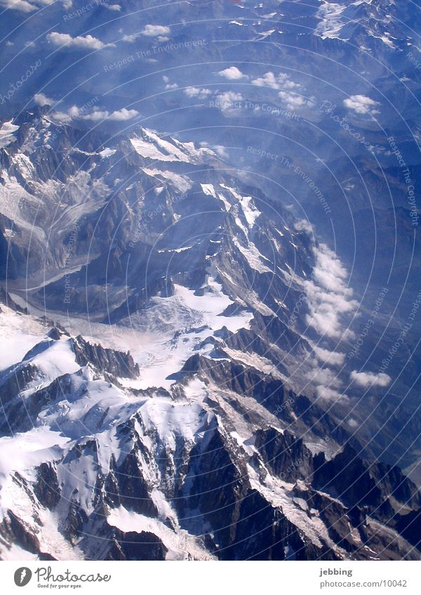 Mont Blanc Bird's-eye view Peak France Airplane Glacier four-thousand-metre Alps Mountain flown over Snow Flying glacer mountains overflow