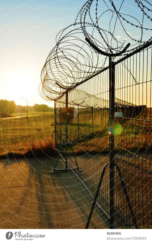 Landscape Dangerous Threat Fence Barrier Dusk Barbed wire fence Barbed hook
