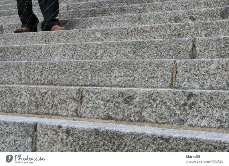 Human being Man Black Gray Footwear Legs Brown Stairs Pants