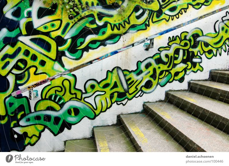 staircase painting Pattern Abstract Background picture Multicoloured Green Cyan Yellow Painting and drawing (object) Spray Ornament Art Gray Street art Detail
