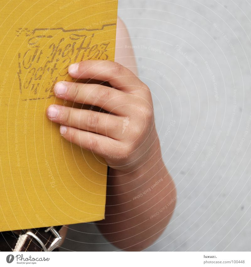 Hand Yellow Wall (building) Love Boy (child) Wall (barrier) Think School Art Germany Child Stand Tall Book Concrete Fingers