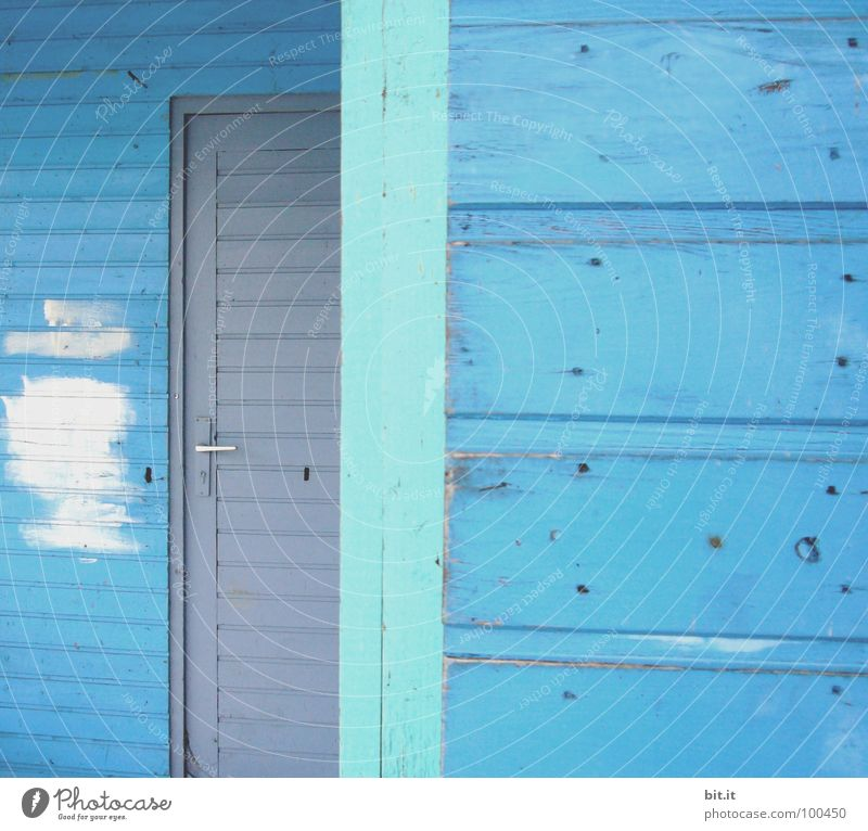 BLUE, BLUE, BLUE... Wooden wall Wooden house Wooden hut Wooden door Light blue Turquoise Gray White Paintwork Patch of colour Detail Section of image