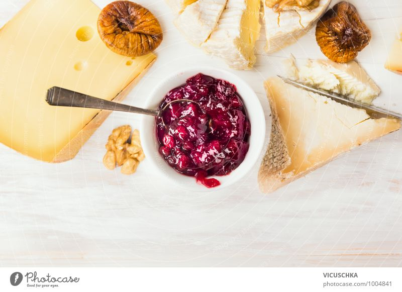 Cheese plate with red berry sauce and spoon Food Dessert Nutrition Buffet Brunch Organic produce Vegetarian diet Diet Bowl Spoon Style Design Nature Yellow