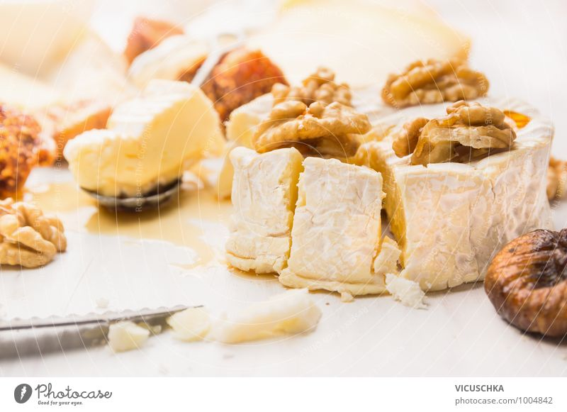 Camembert with walnuts and honey Food Cheese Dessert Jam Nutrition Style Design camembert Honey Walnut Sauce Beautiful Fig Dry Table Selection Dairy Products