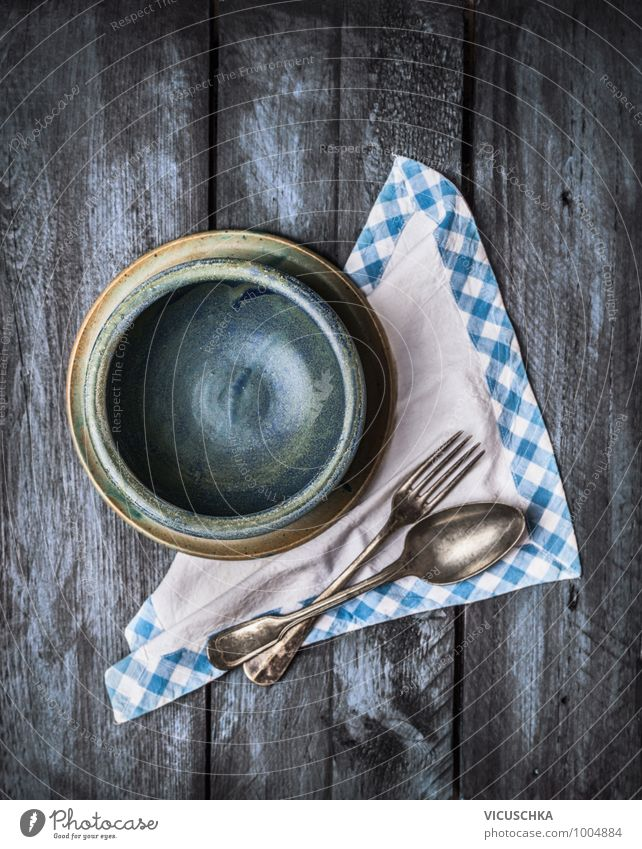 Old Blue Style Wood Background picture Food photograph Design Retro Cooking & Baking Kitchen Expressionless Appetite Crockery Bowl Plate Vintage