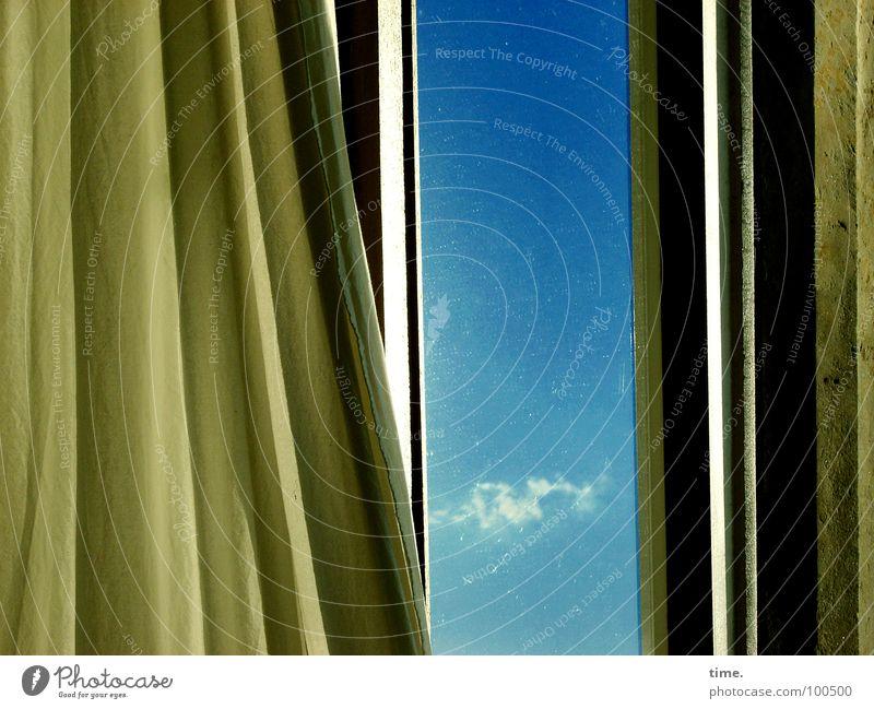 Sky Blue Summer Clouds Loneliness Window Wind Aviation Trust Longing Cloth Drape Wanderlust Soul Sandstone Back draft