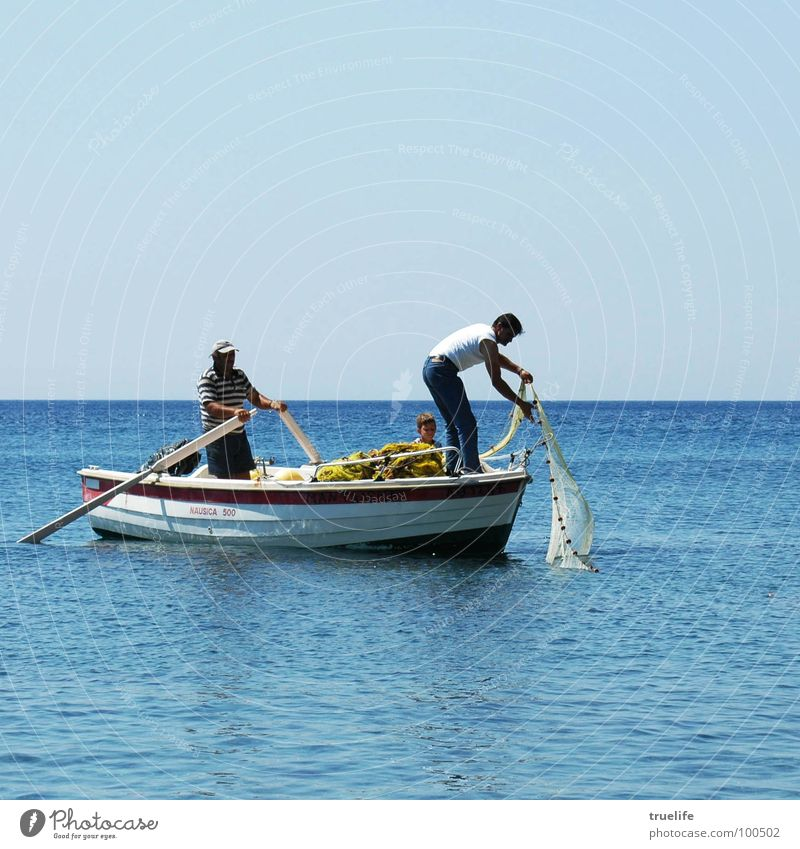 half/half Summer Ocean Human being Child Family & Relations 3 Water Sky Beautiful weather Fishing boat Watercraft Blue Greece Fisherman Fishing net Rowing