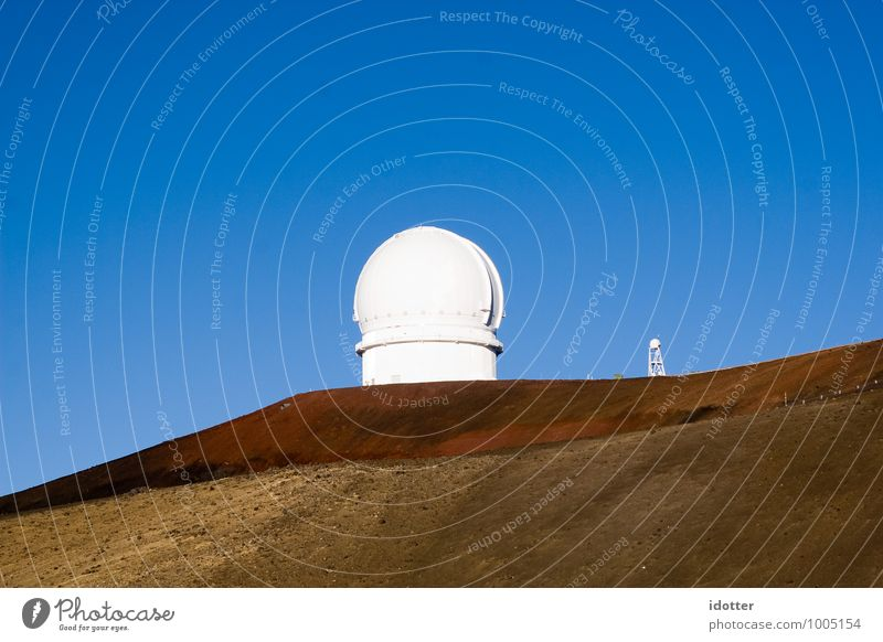 hello ? Telescope Observatory Blue Brown White Fitness Mysterious Surveillance Listening NSA Colour photo Exterior shot Copy Space left Copy Space right