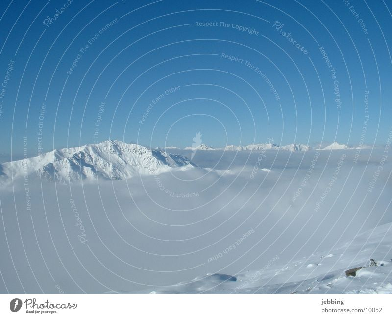 Mountains in the fog Fog Sky Austria Glacier Vantage point Snow Point peak high glacer outlook view vista