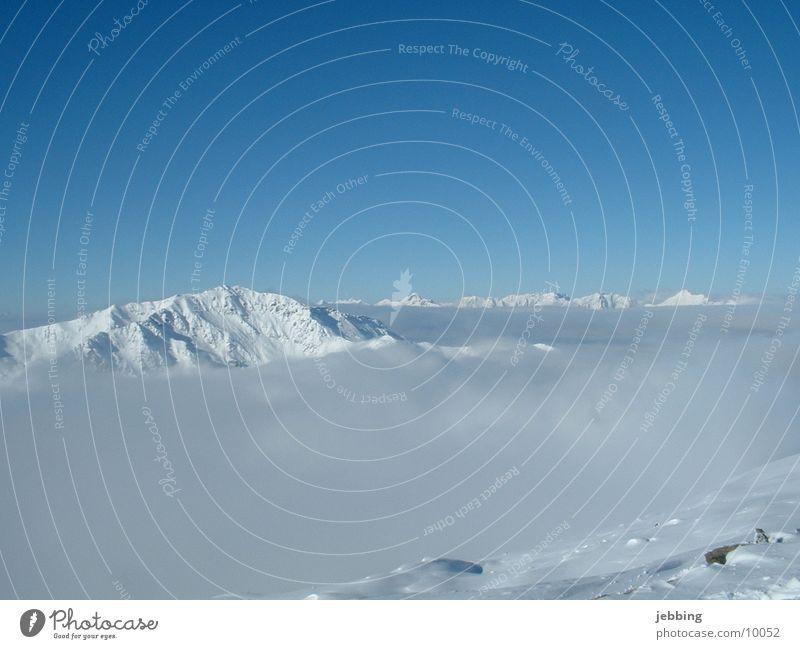 Sky Snow Mountain Fog Point Vantage point Austria Glacier