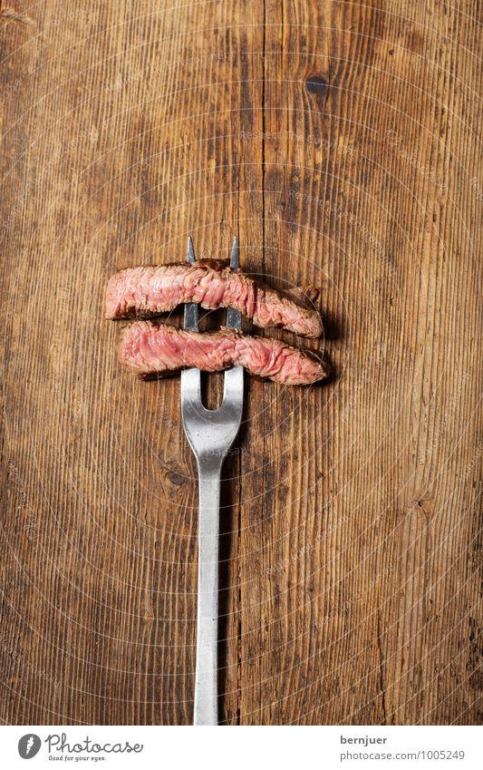steak fork Food Meat Eating Dinner Fork Cheap Good Brown Silver Honest Steak beef steak medium Meat fork Rustic Wooden board Wooden table Slice loin of beef