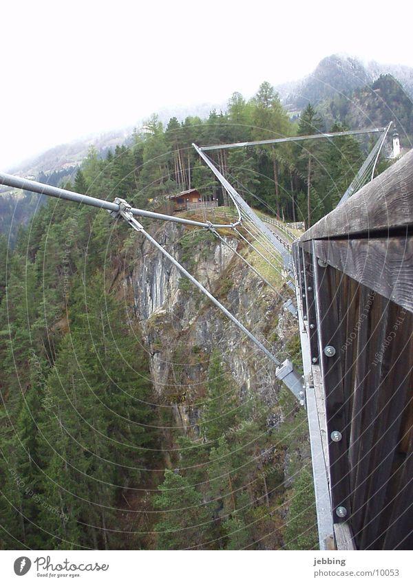 Suspension bridge2 Architecture Bridge Alps Mountain pitztal Bungee jumping Tall Valley high pendant bridge mountains