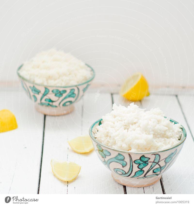 rice Food Grain Nutrition Vegetarian diet Asian Food Bowl Fresh Bright Rice Lemon Rice bowl Colour photo Subdued colour Studio shot Copy Space top