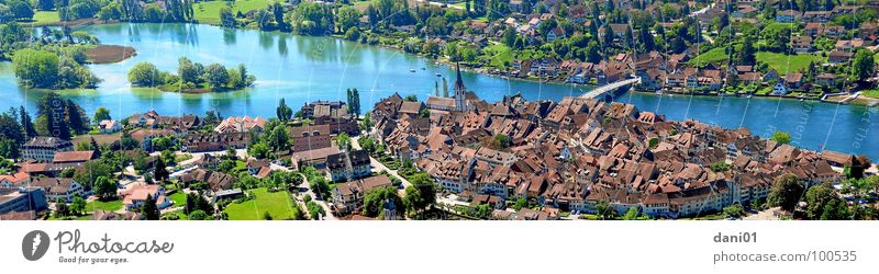 View of Stein Am Rhein Panorama (View) Lake Historic River Brook Stone on the Rhine Lake Constance Old town City wall city centre Bridge pano Island Large