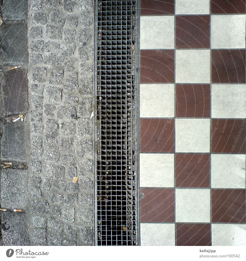 square Square Floor covering Pattern Sidewalk Grating Material Cobblestones Stone Tile Lanes & trails Metal Paving tiles Metal grid Exterior shot Drainage