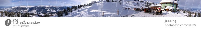Alpine panorama in winter Mountain range Panorama (View) Skis Peak Cold Austria Federal State of Tyrol Winter Snow Ski run Alps Elevator runs slopes Large