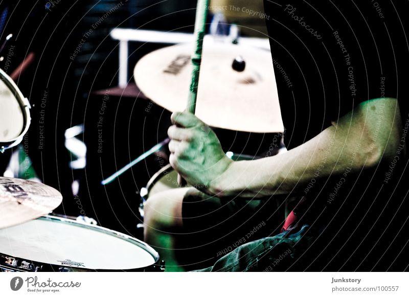 Hand Green Red Black Music Arm Skin T-shirt Concert Pants Musician Stage Musculature Drum set Bronze