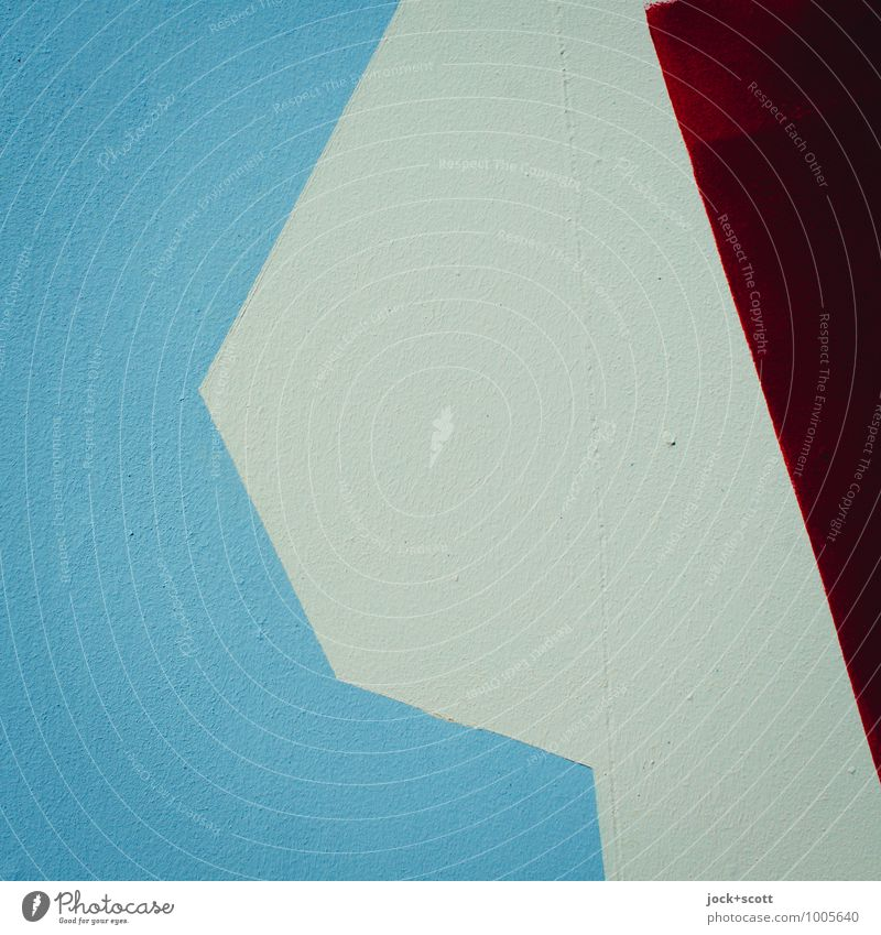 Abstract Street art Concrete Geometry Sharp-edged Simple Blue Red Creativity Surface Fashioned Beige 3 Play of colours Minimalistic Background picture