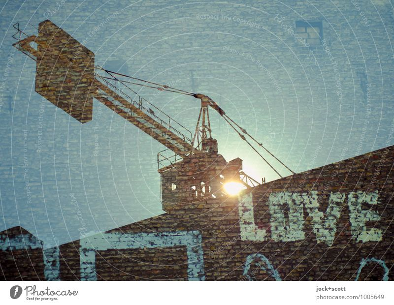 Focus on love luck Construction site Construction crane Subculture Street art Sun Fire wall Brick Word Diagonal Build Dream Exceptional Fantastic Blue Passion