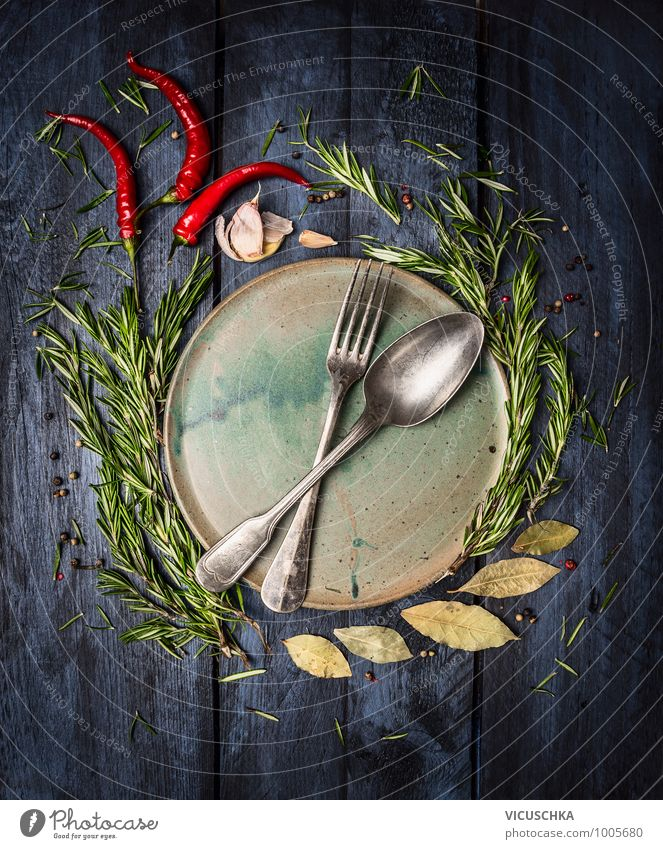 Spoon and fork on the plate framed with spices Food Herbs and spices Nutrition Banquet Plate Cutlery Knives Fork Style Design Healthy Eating Fitness Life