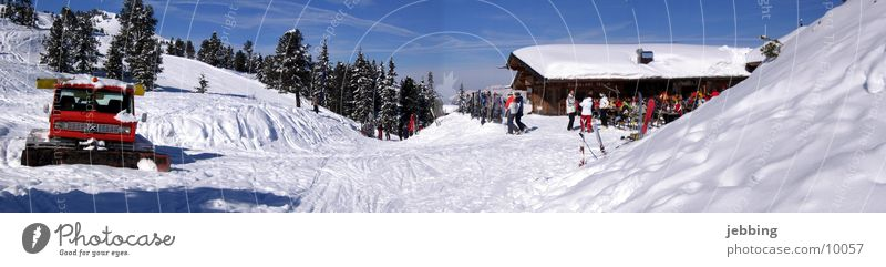 snow caterpillar Winter Austria Après ski Wood Zillertal Fit together Winter sports Snowmobile Europe Hut Alps Skiing Mountain spacecraft Ski run snow groomer