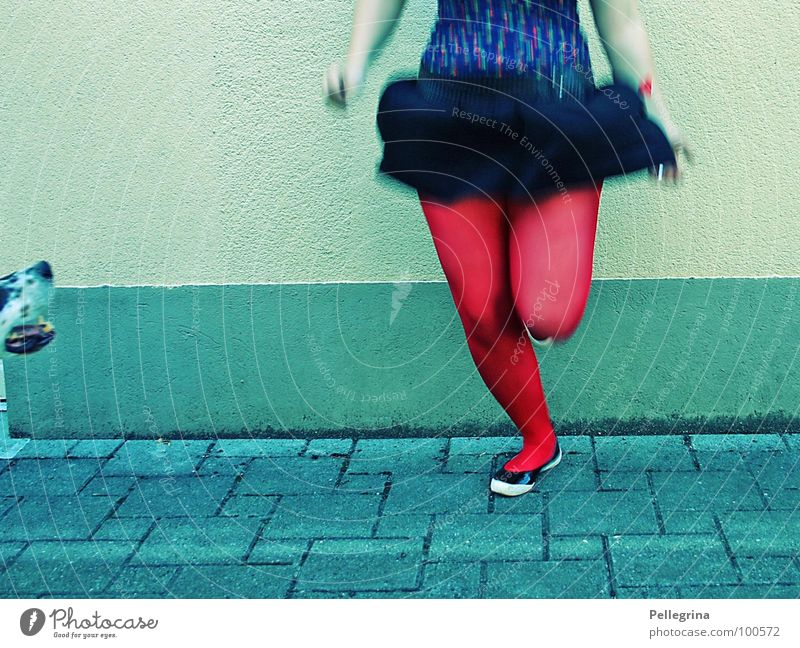 Woman Jump Legs Footwear Dance Arm Flying Rotate Stockings Snout Hop Abdomen
