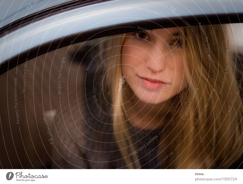 . Feminine Young woman Youth (Young adults) 1 Human being Car Sweater Blonde Long-haired Observe Looking Sit Wait Beautiful Contentment Self-confident Trust