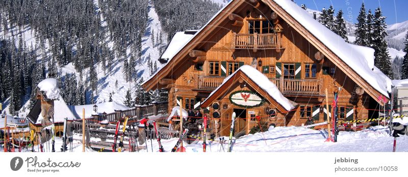 wooden hut Winter Austria Après ski Wood Zillertal Fit together Winter sports Chalet Winter vacation Cold Federal State of Tyrol Europe Hut Snow Alps Skiing