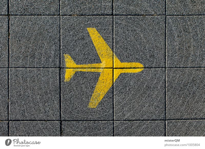 Vacation & Travel Far-off places Yellow Travel photography Art Design Signs and labeling Esthetic Creativity Airplane Symbols and metaphors Wanderlust Airport