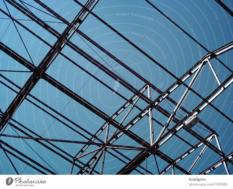 Metal everywhere Electricity Gray Construction Aspire Crossbeam Industry Technology Advancement Blue Sky Silver Shadow