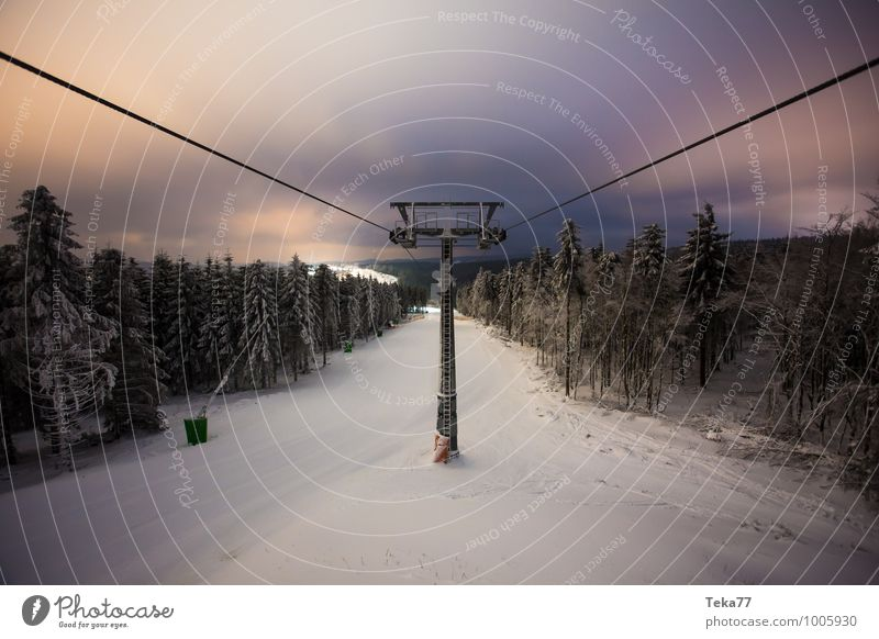 Winter lift cable panorama Vacation & Travel Sports Nature Emotions Success Esthetic winter mountain Elevator Chair lift Colour photo Subdued colour