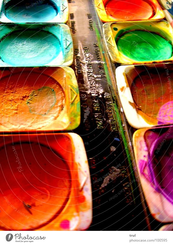 watercolours Art Multicoloured Watercolor Paintbox Red Green Colour Painting (action, work) Blue
