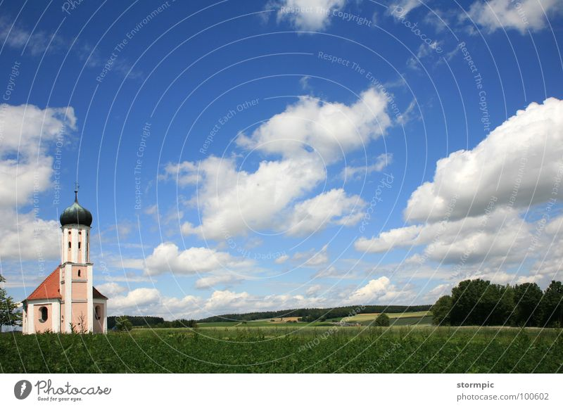 Bavaria white-blue Clouds Onion tower Summer Clean Green Peace Calm Break Prayer House of worship Panorama (View) Americas Landscape Sky Religion and faith