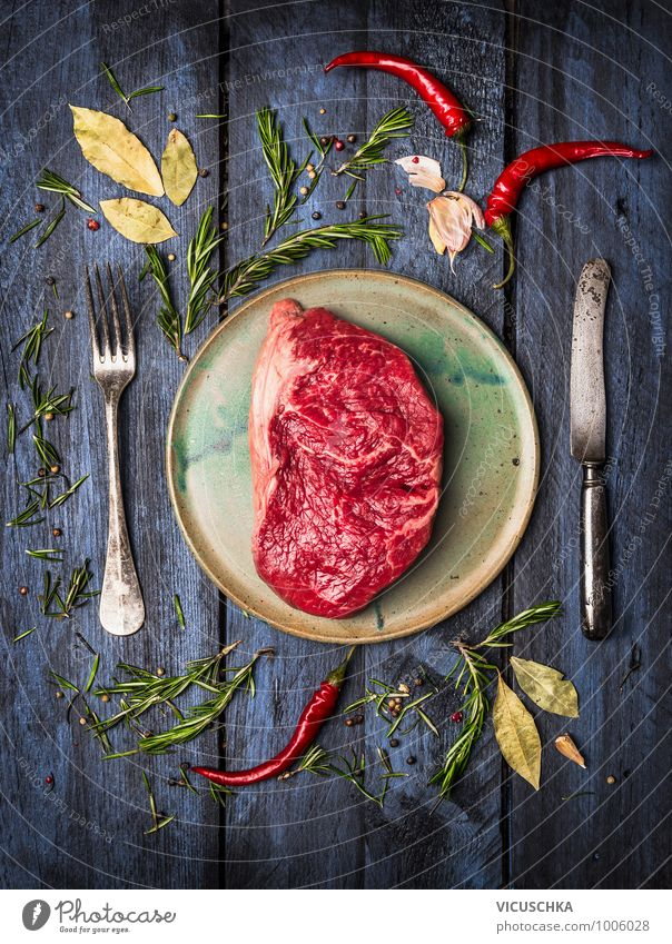 Roast beef steak on the plate with knife, fork and spices Food Meat Herbs and spices Cooking oil Nutrition Lunch Dinner Organic produce Diet Crockery Plate