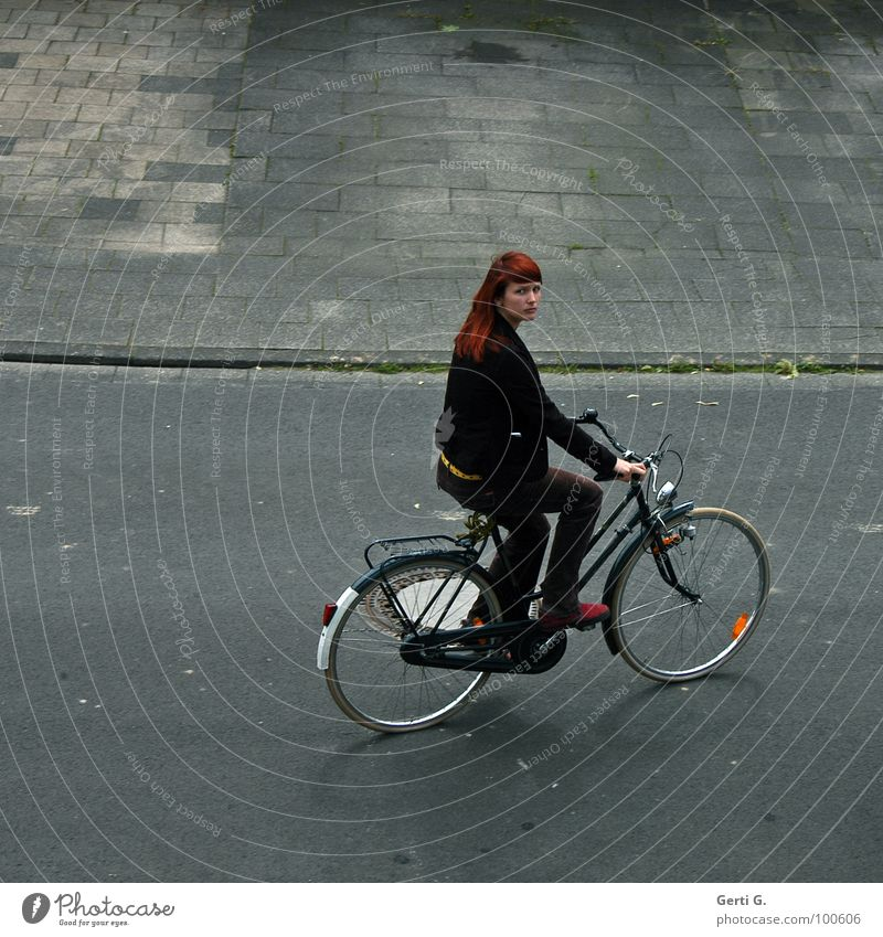 I'm gonna go get some cigarettes. Woman Young woman Long-haired Red-haired Beautiful Friendliness Yellow Bicycle Comfortable Asphalt Depart Sidewalk Driving