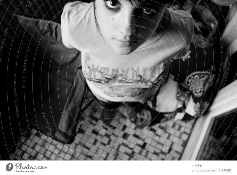 Woman Girl White Black Gray Sweet Cool (slang) Friendliness Balcony Bubble