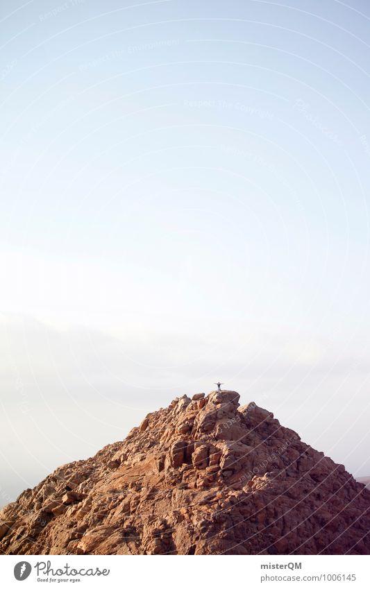 Summit man. Environment Nature Landscape Esthetic Mountain Snowcapped peak Peak cross Stony Fuerteventura Heaven Land Feature Tall Career Mountaineer Success