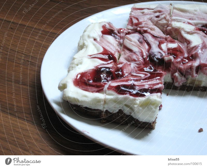 delicious cake (1of3) Cake Cream Cherry Dough Plate Part Creamy Baked goods Birthday Joy smudged Crockery piece Partially visible