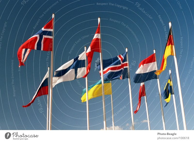 Flag in the wind II Flagpole Scandinavia Northern Europe Eastern Europe Norway Finland Ukraine Beautiful weather Denmark Sky Congress center Administration