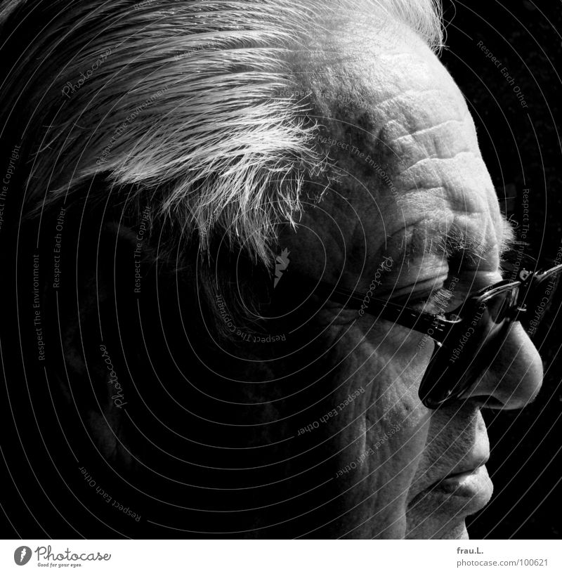 dad Man Senior citizen Wisdom Skeptical Concentrate portrait Silhouette Force Grandfather Old Annoying Masculine Eyeglasses Physics Observe white hair Listening