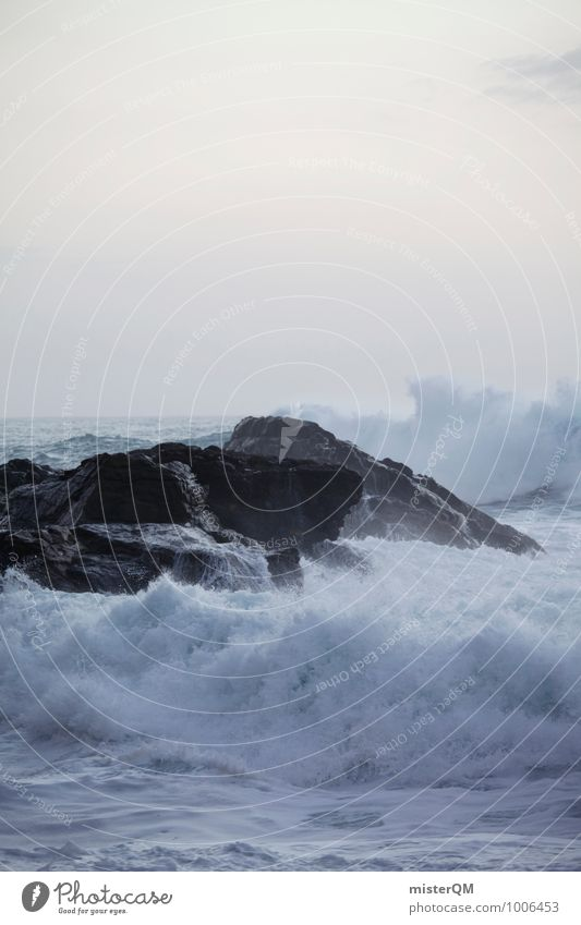 A rock in the surf. Environment Nature Landscape Esthetic Contentment Waves Swell Undulation Wavy line Wellenkuppe Crest of the wave White White crest Surf Rock
