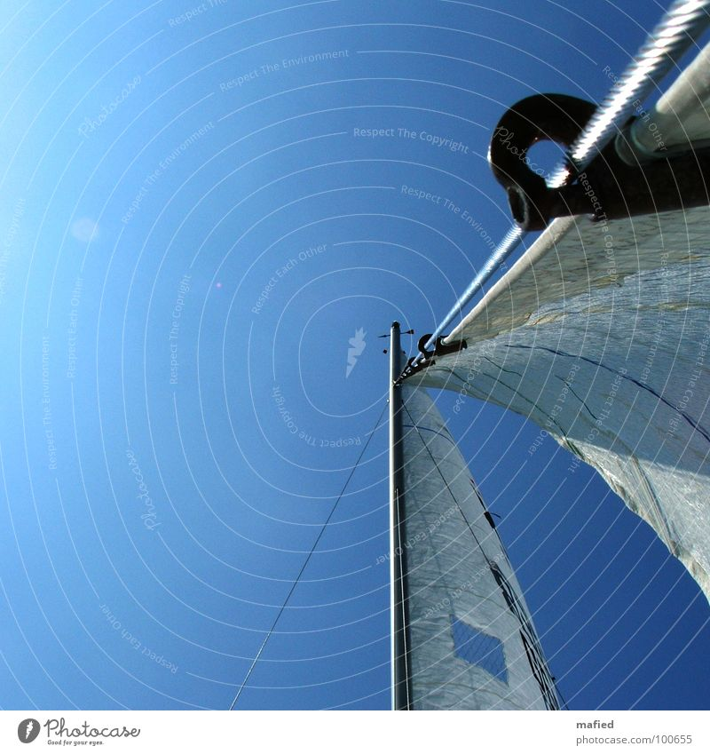 forestay Rigging Sailing Summer Ocean Break luff jib trotter headsail Electricity pylon Sky Blue Sun Wind Freedom