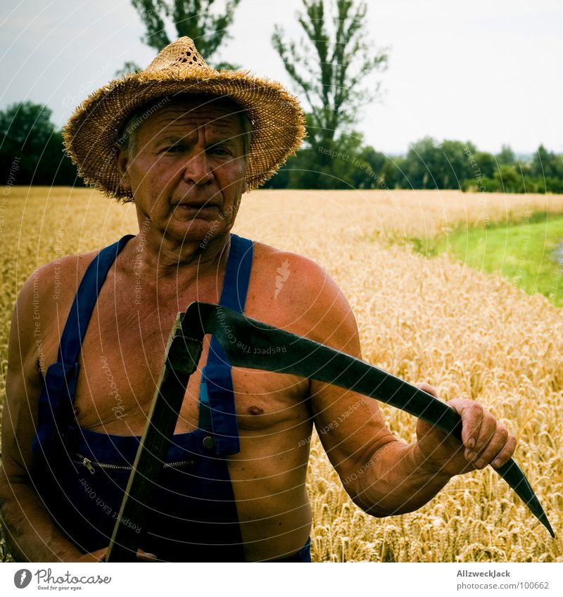 The Grim Reaper Scythe Field Agriculture Farmer Grandfather Man Brown Sunbathing Leather Executioner Tee off Wheat Overalls Old Straw hat Craft (trade)